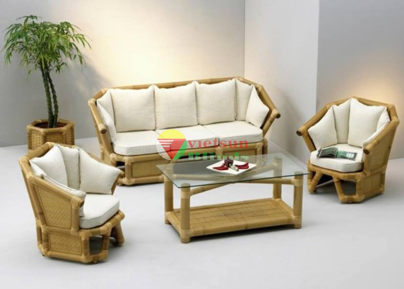 Sofa salon b ng tre for Muebles de cana de bambu